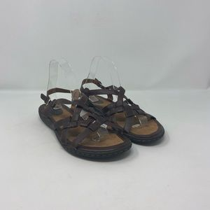 Born Brown Leather Strappy Sandals Womens Size 9